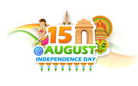independencia: ilustración de Día de la Independencia de la India con el fondo Puerta de la India Vectores