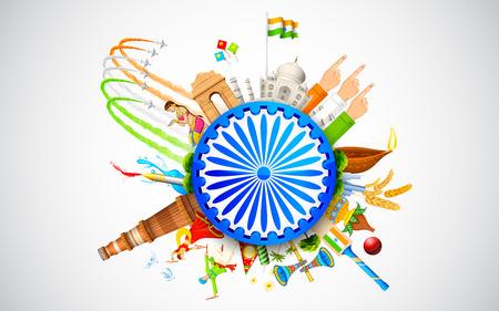 bandera de la india: ilustración de monumento y bailarina mostrando diversa cultura de la India Vectores
