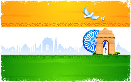 qutub minar: illustration of Ashok wheel and India Gate on tricolor flag
