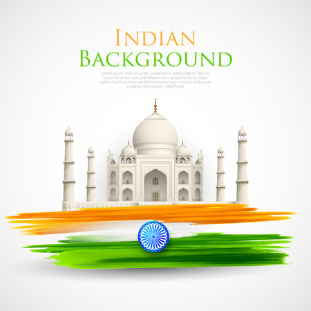august: illustration of Taj Mahal with Tricolor India grunge Illustration