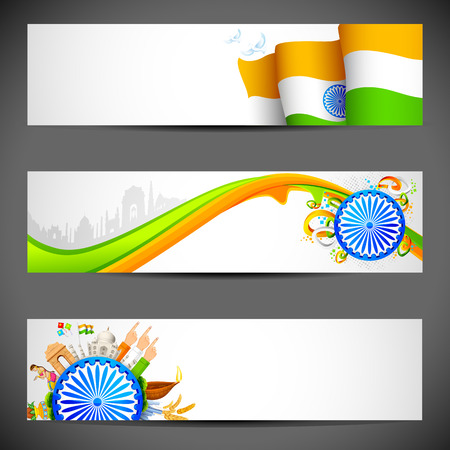 26th: illustration of set of banner for colorful India Illustration