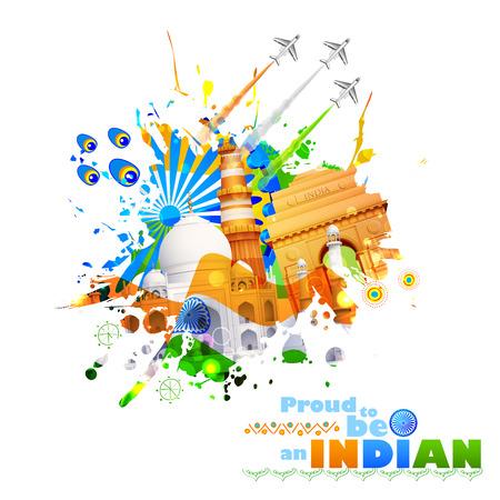 伝統: 記念碑と文化のインドの背景のイラスト  イラスト・ベクター素材