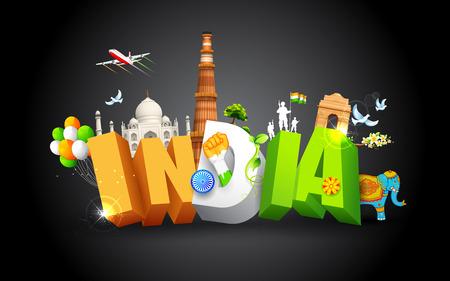 bandera de la india: ilustración de monumento mostrando coloridos cultura de la India