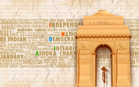 india culture: illustration of India gate on abstract background with relativ text Illustration