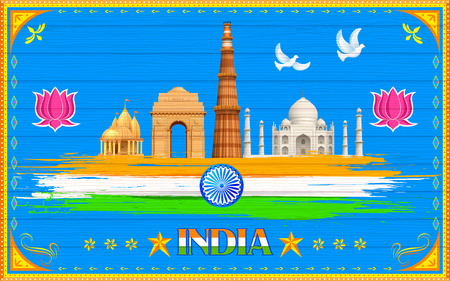 national: illustration of India background in truck paint style Illustration