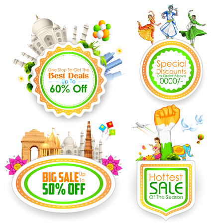 the day off: illustration of Sale promotion badge in India theme Illustration