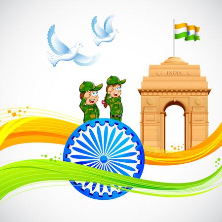india gate: illustration of India Gate and Ashok Chakra with wavy Indian flag Illustration