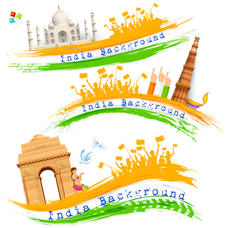 ashok: illustration of set of banner for colorful India with monument Illustration
