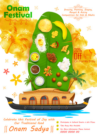indian food: illustration of Onam feast on banana leaf