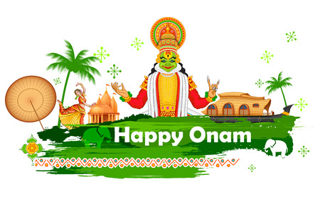 indian food: illustration of Onam background showing culture of Kerala
