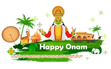 bailarina: ilustraci�n de Onam fondo que muestra la cultura de Kerala