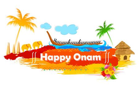 illustration of Boat Race of Kerla on Onam