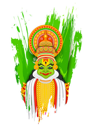 onam: illustration of colorful Kathakali dancer face on grungy background for Happy Onam
