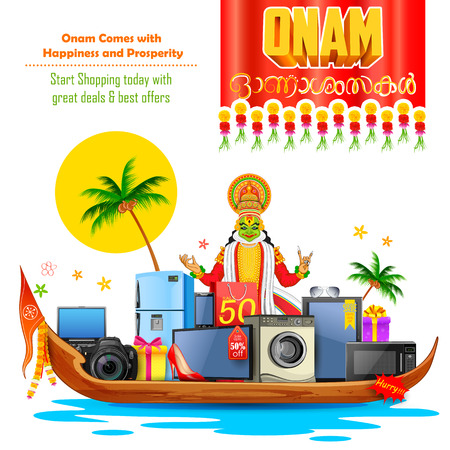 fiestas electronicas: ilustración de la venta electrónica y bailarina kathakali con el mensaje de feliz Onam Vectores