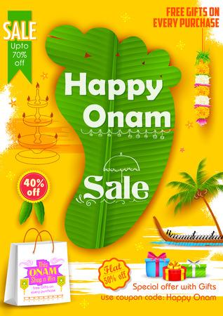 malayalam: illustration of King Mahabalis feet shaped banana leaf in Onam Sadya sale background