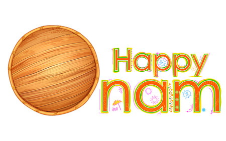 onam: illustration of tradition palm leaf umbrella, Olakkuda in Happy Onam background Illustration