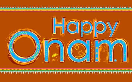 malayalam: illustration of Happy Onam background design Illustration