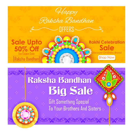 auspicious: illustration of decorative rakhi for Raksha Bandhan sale promotion banner Illustration