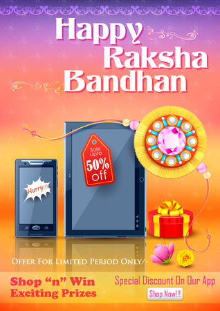 raksha: illustration of decorative rakhi for Raksha Bandhan sale promotion banner Vettoriali