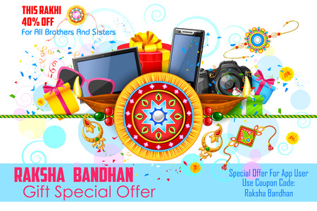 electronic background: illustration of decorative rakhi for Raksha Bandhan sale promotion banner Illustration