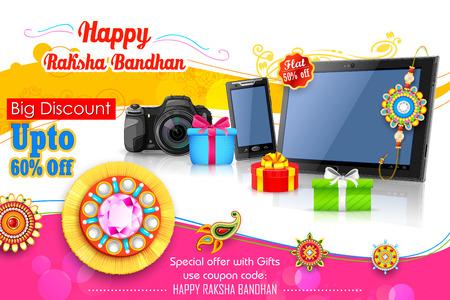 sales person: illustration of decorative rakhi for Raksha Bandhan sale promotion banner Illustration