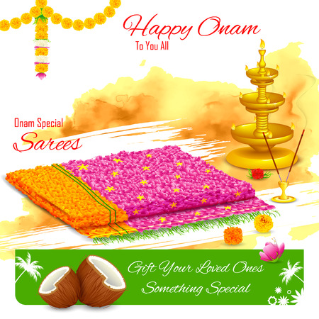 pookolam: illustration of gift of saree in Happy Onam Illustration