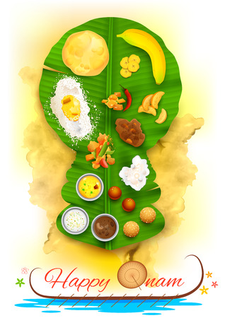 kerala culture: illustration of Onam feast on kathakali dancer shaped banana leaf