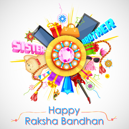 raksha: illustration of decorative rakhi for Raksha Bandhan sale promotion banner Illustration