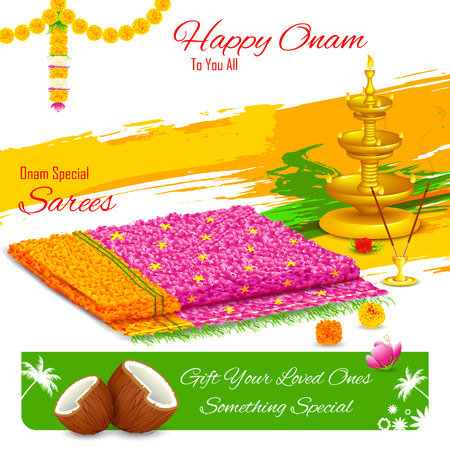onam: illustration of gift of saree in Happy Onam Illustration