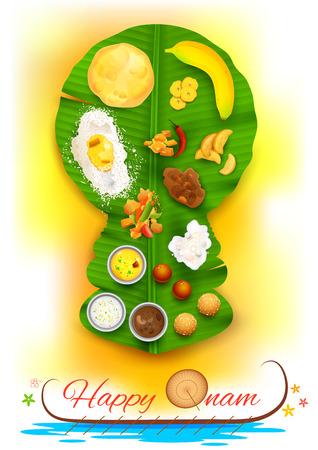 banane: illustration de Onam fête le kathakali en forme de feuille de bananier danseur Illustration