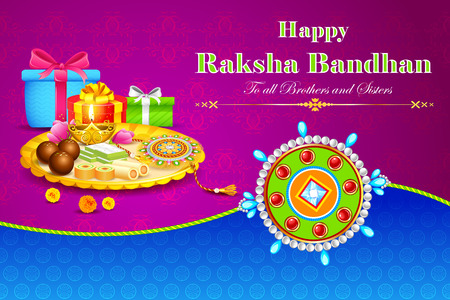 sweet: illustration of decorated thali with rakhi for raksha bandhan