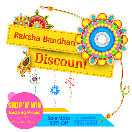 discount banner: illustration of decorative rakhi for Raksha Bandhan sale promotion banner Illustration