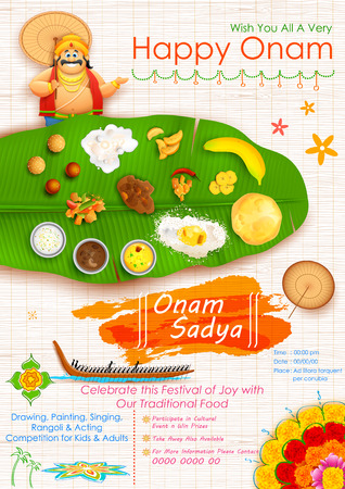 kerala culture: illustration of King Mahabali in Onam Sadya background Illustration