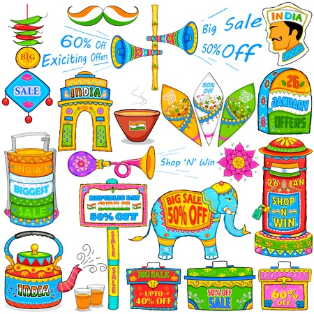 india gate: illustration of kitsch art of India showing sale and promotion Illustration