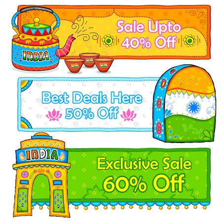 kitsch: illustration of Indian kitsch art style sale and promotion banner