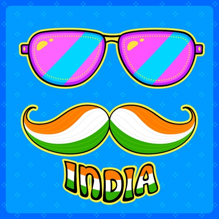 kitsch: illustration of Indian kitsch style mustache and glasses Illustration