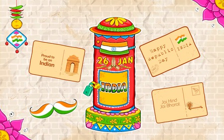 kitsch: illustration of India kitsch style post box and letter Illustration