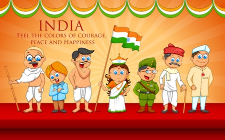 independence day: illustration of kids in fancy dress of Indian freedom fighter
