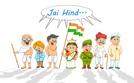 bharat: illustration of kids in fancy dress of Indian freedom fighter