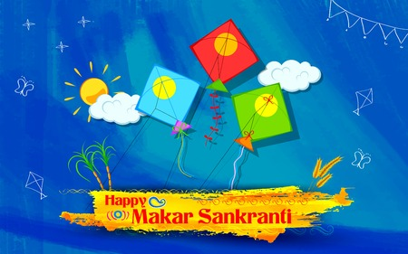 papalote: ilustración de fondo de pantalla Makar Sankranti con coloridas cometas