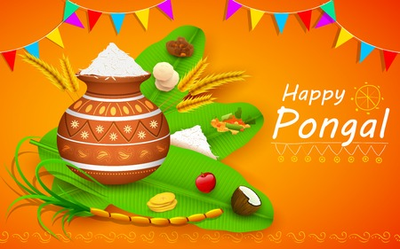 indian family: illustration of Happy Pongal greeting background