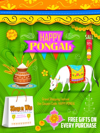 india food: illustration of Happy Pongal greeting and shopping background