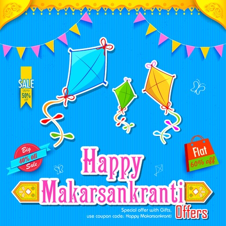 holy family: illustration of Makar Sankranti wallpaper with colorful kite