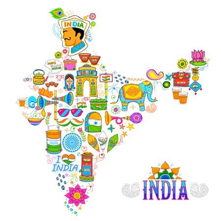 independencia: ilustración de arte kitsch de formar un mapa de la India Vectores