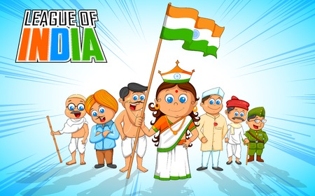 nationalities: illustration of kids in fancy dress of Indian freedom fighter