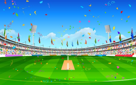 floodlit: illustration of stadium of cricket showing flags of participating countries