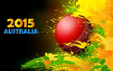 cricket ball: illustration of cricket ball in grungy abstract background