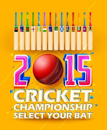 cricket bat: illustration of cricket bat of different participating countries Illustration