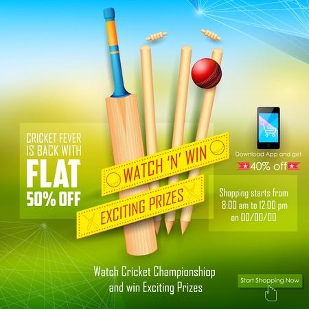 cricket bat: illustration of sale and promotion banner for cricket season Illustration