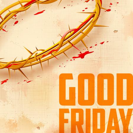 cristianismo: ilustración de Corona de espinas con goteando sangre en el Viernes Santo